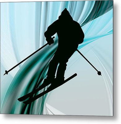 Downhill Skiing On Icy Ribbons Metal Print by Elaine Plesser