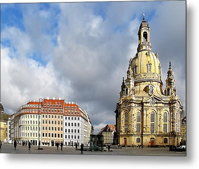 Dresden Church Of Our Lady And New Market Metal Print by Christine Till