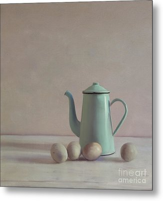 Duck Eggs And Coffee Pot Metal Print by Paul Grand