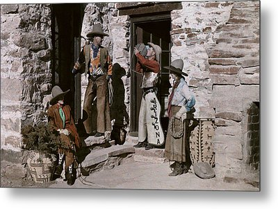 Dude Ranch Guests Pretend To Be Cowboys Metal Print by Clifton R. Adams