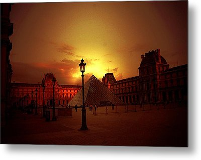 Dusk At The Louvre Metal Print by Carrie OBrien Sibley