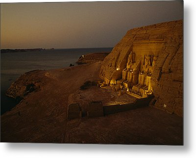 Dusk Descends On Abu Simbel With Lake Metal Print by O. Louis Mazzatenta