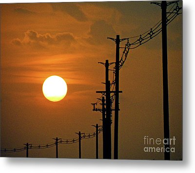 Dusk With Poles Metal Print by Joe Jake Pratt