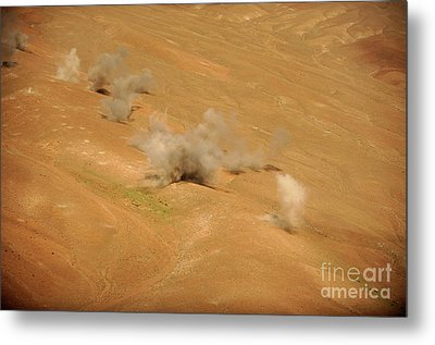 Dust Rises From The Impact Points Of Kp Metal Print by Stocktrek Images