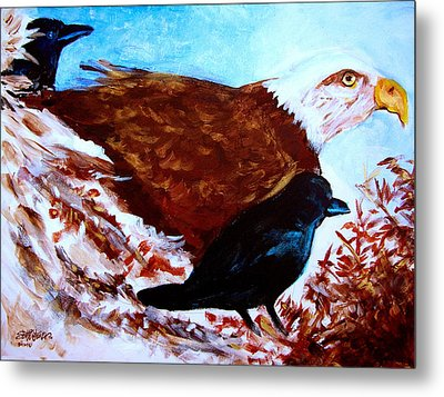 Eagle And Ravens Metal Print by Seth Weaver
