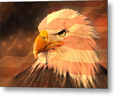 Eagle On Flag Metal Print by Marty Koch