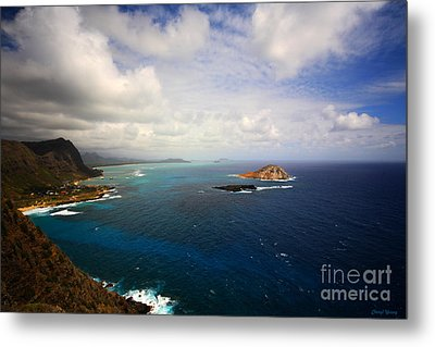 East Oahu Coastline Metal Print by Cheryl Young