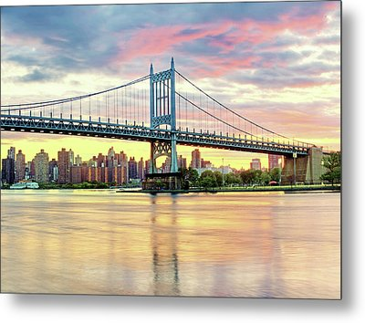 East River Sunset Over Triboro Bridge Metal Print by Tony Shi Photography