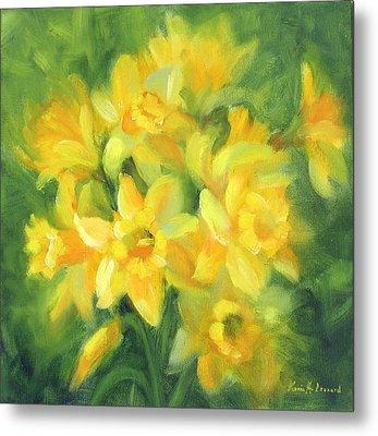 Easter Daffodils Metal Print by Karin  Leonard