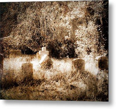 Eerie Cemetery Metal Print by Sonja Quintero