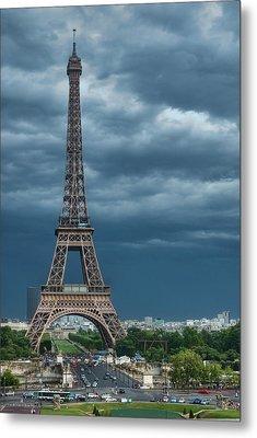 Eiffel Tower On A Stromy Weather Metal Print by Mihaela Muntean