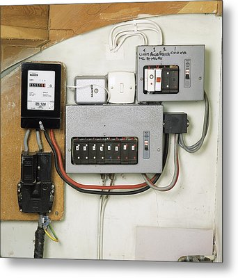 Electricity Meter And Fuse Boxes Metal Print by Sheila Terry