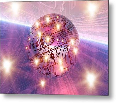 Electronic World, Artwork Metal Print by Mehau Kulyk