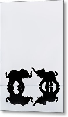 Elephant Pair Reflection Metal Print by Chris Knorr