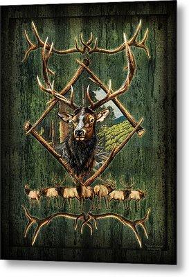 Elk Lodge Metal Print by JQ Licensing