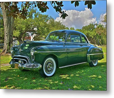 Emerald Oldsmobile Under The Magnolias Metal Print by Mike  Capone