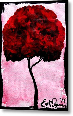 Emily's Trees Red Metal Print by Lizzy Love of Oddball Art Co