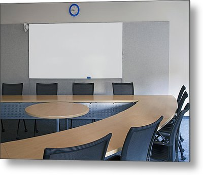 Empty Boardroom Or Meeting Room In An Metal Print by Marlene Ford