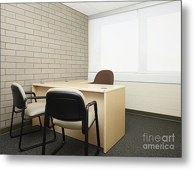 Empty Desk In An Office Metal Print by Skip Nall