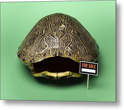 Empty Turtle Shell With For Sale Sign Metal Print by Jeffrey Hamilton