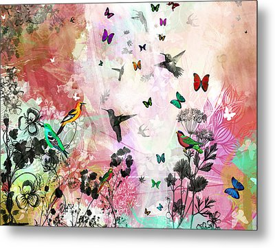 Enchanting Birds And Butterflies Metal Print by Carly Ralph