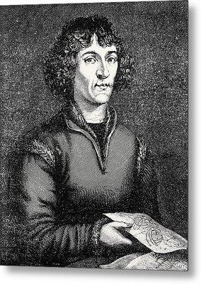 Engraving Of Nicolas Copernicus, Polish Astronomer Metal Print by Dr Jeremy Burgess