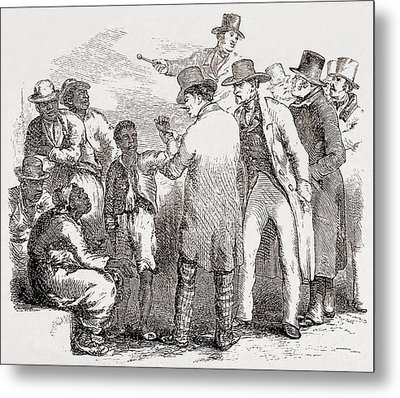 Enslaved African American Sold At An Metal Print by Everett