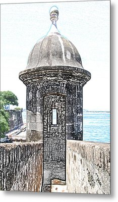 Entrance To Sentry Tower Castillo San Felipe Del Morro Fortress San Juan Puerto Rico Colored Pencil Metal Print by Shawn O'Brien