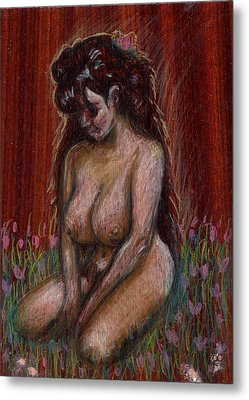Eve In Her Garden Metal Print by Mani Price