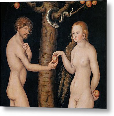Eve Offering The Apple To Adam In The Garden Of Eden Metal Print by The Elder Lucas Cranach