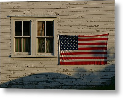 Evening Light On An American Flag Metal Print by Stephen St. John