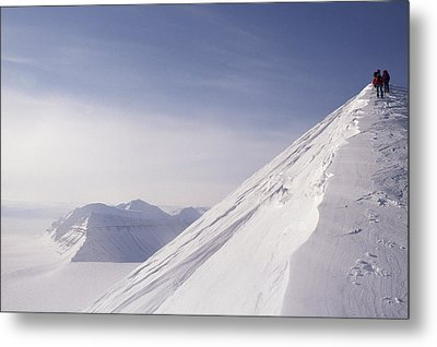 Expedition Skiers Climb Nemtinov Peak Metal Print by Gordon Wiltsie