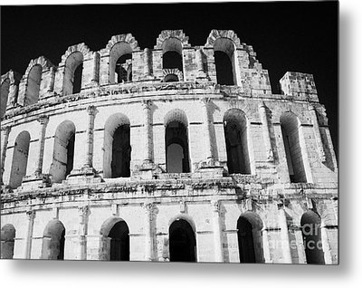 External View Of Three Upper Tiers Of Archways Of Old Roman Colloseum El Jem Tunisia Metal Print by Joe Fox