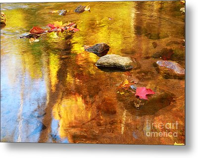 Fall Color In Stream Metal Print by Charline Xia