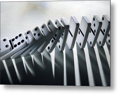 Falling Dominoes Metal Print by Victor De Schwanberg