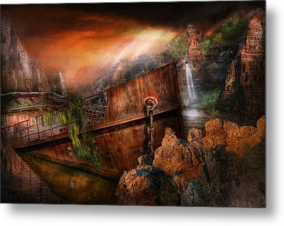 Fantasy - Ship Wrecked Metal Print by Mike Savad