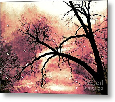 Fantasy Surreal Gothic Orange Black Tree Limbs  Metal Print by Kathy Fornal