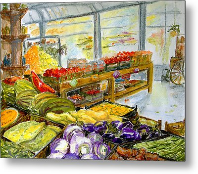 Farmer's Market In Fort Worth Texas Metal Print by Barbara Pommerenke