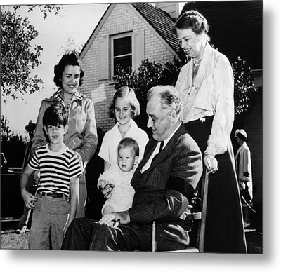 Fdr Presidency. Front Row, From Left Metal Print by Everett