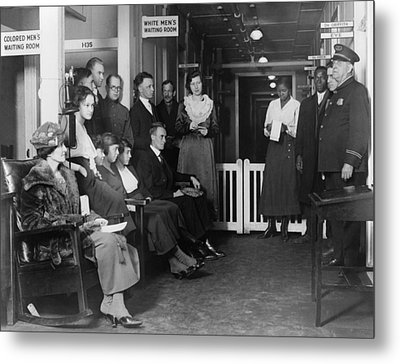 Federal Employees In Waiting In White Metal Print by Everett