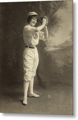 Female Baseball Player Metal Print by Granger