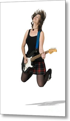 Female Guitarist Jumps  Metal Print by Ilan Rosen