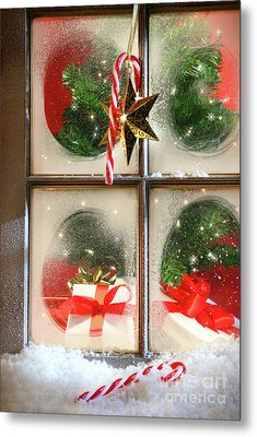 Festive Holiday Window Metal Print by Sandra Cunningham