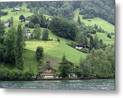 Few Houses On The Slope Of Mountain Next To Lake Lucerne Metal Print by Ashish Agarwal