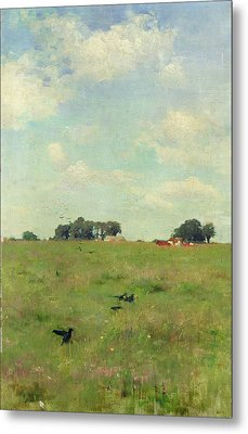 Field With Trees And Sky Metal Print by Walter Frederick Osborne