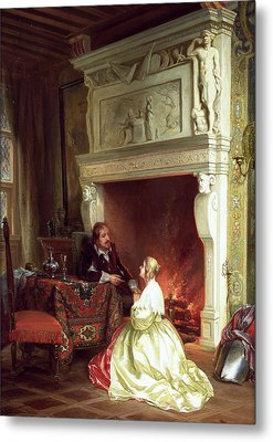 Figures In An Interior  Metal Print by Ary Johannes Lamme