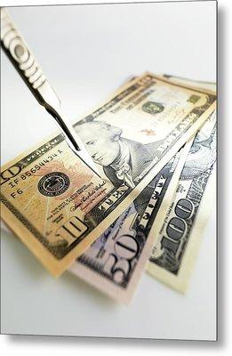 Financial Cuts Metal Print by Tek Image