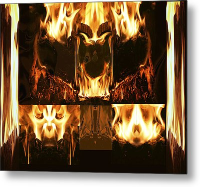 Fire Faces Metal Print by Janet Kearns