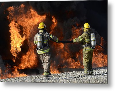 Firefighters In Action 3 Metal Print by Bob Christopher