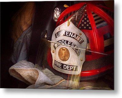 Fireman - Hat - The Lieutenants Cap  Metal Print by Mike Savad